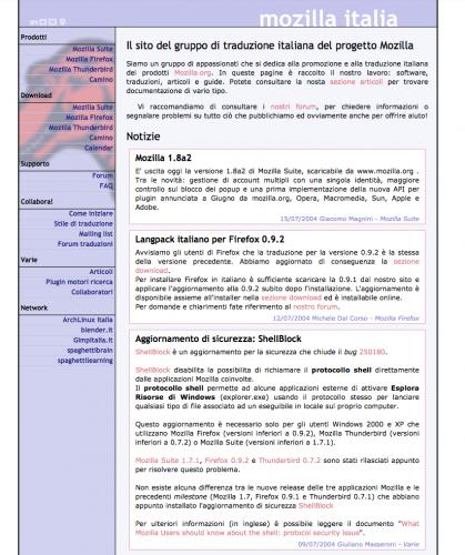 Sito mozillaitalia.org - 2004